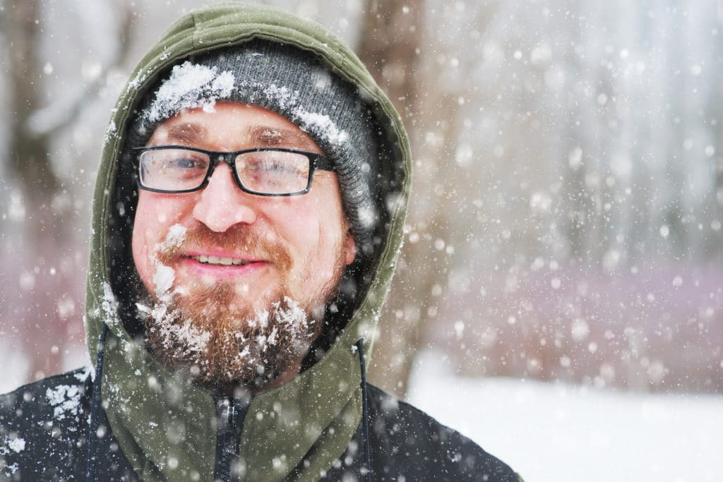 Closeup,Portrait,Of,Happy,Young,Bearded,Man,In,Cold,Weather